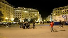 Central square of Thessaloniki, Greece at night Stock Footage