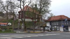 Altenau village center pan Walpurgis tradition Harz Stock Footage