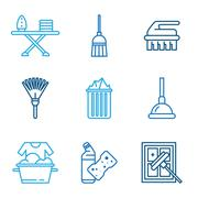 Cleaning Tools Icons in Flat Color Style Stock Illustration