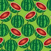 Bright seamless wallpaper with watermelon Stock Illustration