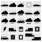 vector black of transport and weather icons set on gray - stock illustration