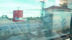 View of passing country landscape from a train window HD Stock Footage