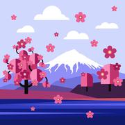 Flat Design Landscape of Japan Vector - stock illustration
