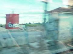 View of passing country landscape from a train window NTSC Stock Footage