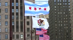 Flags of Chicago city, Illinois, and USA. Stock Footage