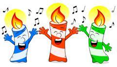 cartoon birthday candles singing a birthday song - stock illustration