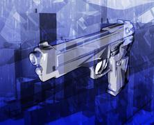 Gun crime Abstract concept digital illustration - stock illustration