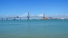 Bridge construction in the Bay of Cadiz, Spain (4K) Stock Footage