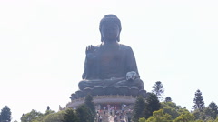 The Tian Tan Famous Big Buddha Statue Of Hong Kong (zoom out) Stock Footage
