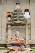 .Old Buddha in Ancient Temple, Sangklaburi ,Kanchanaburi, Thailand  . - stock photo