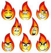 flame cartoons with many faces isolated on white background - stock illustration