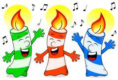 Cartoon birthday candles singing a birthday song Stock Illustration