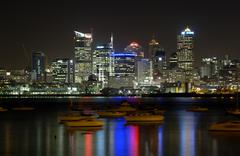 The city of Auckland New Zealand night time panoramic - stock photo