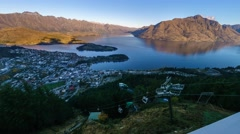 Queenstown & Lake Waktipu Sunset From Gondola Hills. Pan Left - stock footage