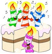 Candles on cake celebrate birthday Piirros