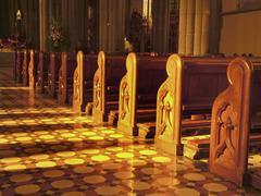 pews church interior St Patrick s Cathedral Melbourne Australia - stock photo
