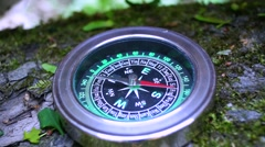The compass on the tree, the arrow rotates abnormally. Stock Footage