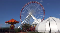 Ferris Wheel at the Navy Pier Park. Chicago Stock Footage