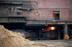 Steel Mill Blast Furnace - stock photo