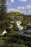 View across Devonport, Auckland North shore, to Mount Victoria - stock photo