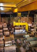 Steel Coil Warehouse - stock photo