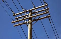 Electic Power Line Poles - stock photo