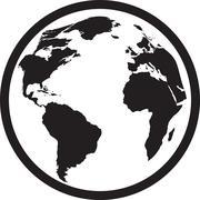 Icon of black and white globe - stock illustration