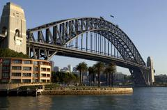 Early morning view of Sydney Harbour Bridge from the Rocks Stock Photos