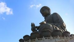 The Tian Tan Famous Big Buddha Statue Of Hong Kong (2 shot) Stock Footage