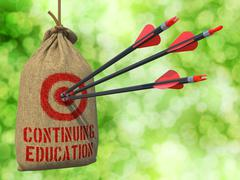 Continuing Education - Arrows Hit in Red Target - stock illustration