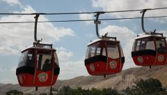 Aerial riding the cable car from Mount of Temptation to Jerich Stock Footage