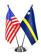 USA and Curacao - Miniature Flags - stock illustration