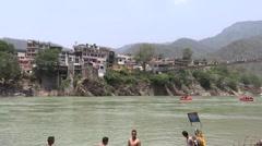 Rafting in Ganga River in Rishikesh 8 Stock Footage