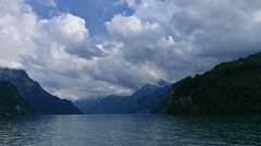 Storm above Lake Lucerne in canton Schwyz - stock footage