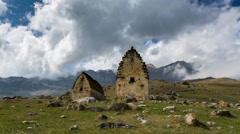 Time Lapse 4K. North Ossetia, the formation of clouds in the ancient settlement - stock footage