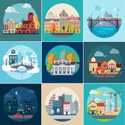 Set of Different Landscapes in the Flat Style Stock Illustration