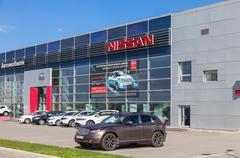 Official dealer Nissan in Samara, Russia - stock photo