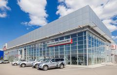 Office of official dealer Mitsubishi in Samara, Russia - stock photo
