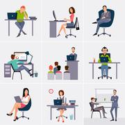 Business process infographics elements - stock illustration