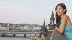Woman looking at Stockholm old town cityscape view Stock Footage
