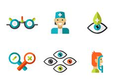 Optical Icons, Ophthalmology set, Vector - stock illustration