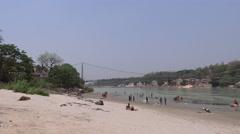 Ram Jhula and Ganga River in Rishikesh 4 Stock Footage