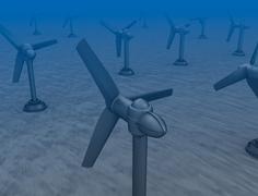 Tidal wave turbines on the bottom of the sea. - stock illustration