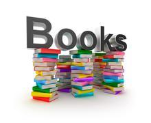 Books in piles Stock Illustration