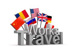 Work and travel 3D concept image - stock illustration