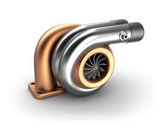 Auto turbine 3D concept. Steel turbocharger isolated on white. - stock illustration