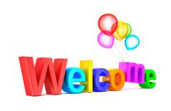 Stock Illustration of Colorful welcome word with balloons on white background