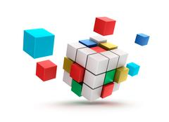 3D abstract cubes background - stock illustration