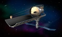 Space telescope in orbit. My own design. - stock illustration