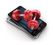Stock Illustration of Mobile phone and Dumbbells , 3D concept